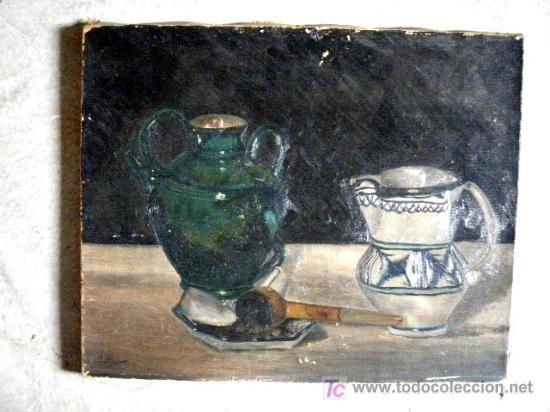 JARRAS DE CERAMICA. OLEO S/LIENZO (Arte - Pintura - Pintura al Óleo Moderna sin fecha definida)