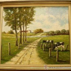 Arte: IMPONENTE PAISAJE CON VACAS ESCUELA EUROPEA PRINC SIGLO XX (CA.1930-40) O/T FIRMADO 110 X 98 CMS. Lote 27168182