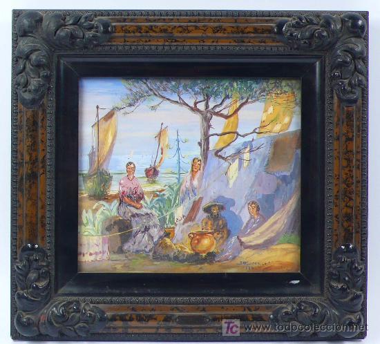 J. OLIVER, 1932. ESCENA DE PLAYA CON GITANOS Y BARCOS. ÓLEO SOBRE PAPEL ENMARCADO 28X30CM. (Arte - Pintura - Pintura al Óleo Moderna sin fecha definida)