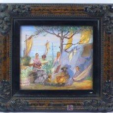 Arte: J. OLIVER, 1932. ESCENA DE PLAYA CON GITANOS Y BARCOS. ÓLEO SOBRE PAPEL ENMARCADO 28X30CM.. Lote 22027831
