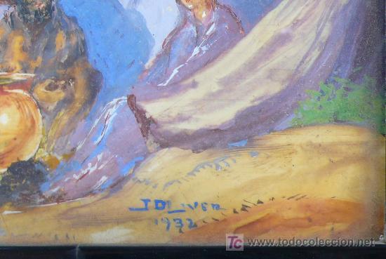 Arte: J. OLIVER, 1932. Escena de playa con gitanos y barcos. óleo sobre papel enmarcado 28x30cm. - Foto 5 - 22027831