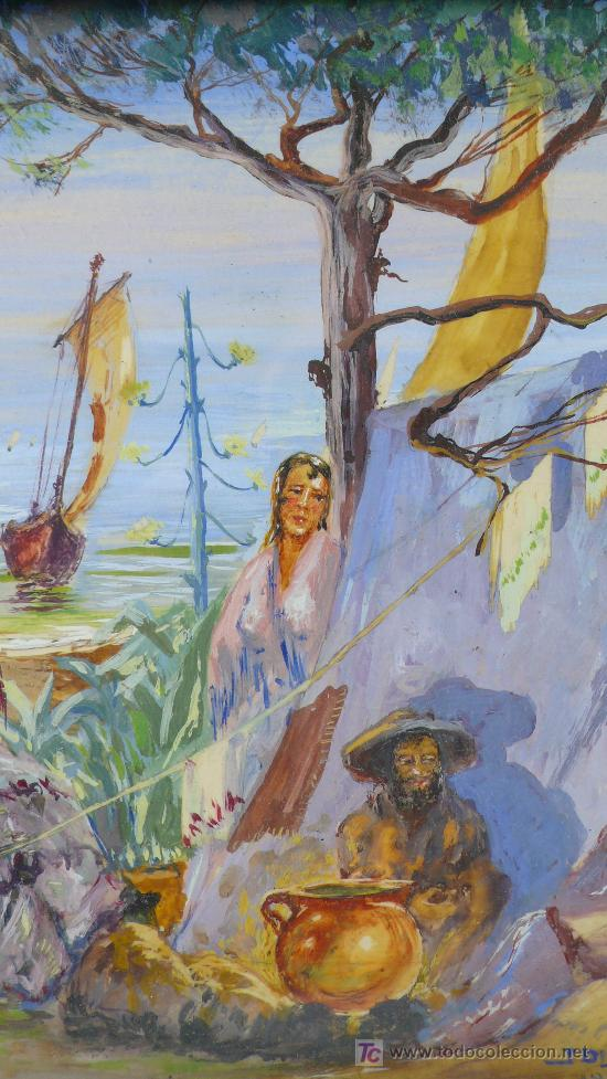 Arte: J. OLIVER, 1932. Escena de playa con gitanos y barcos. óleo sobre papel enmarcado 28x30cm. - Foto 4 - 22027831
