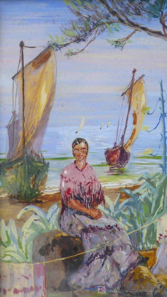 j. oliver, 1932. escena de playa con gitanos y - Comprar Pintura al ...