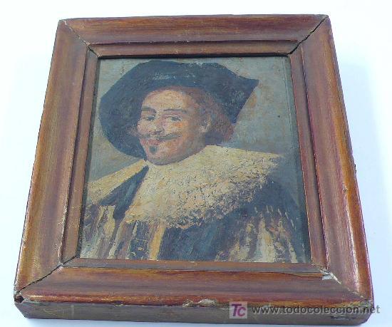 Arte: pequeño retrato enmarcado.17x15 cm.óleo sobre tabla. - Foto 4 - 22339501