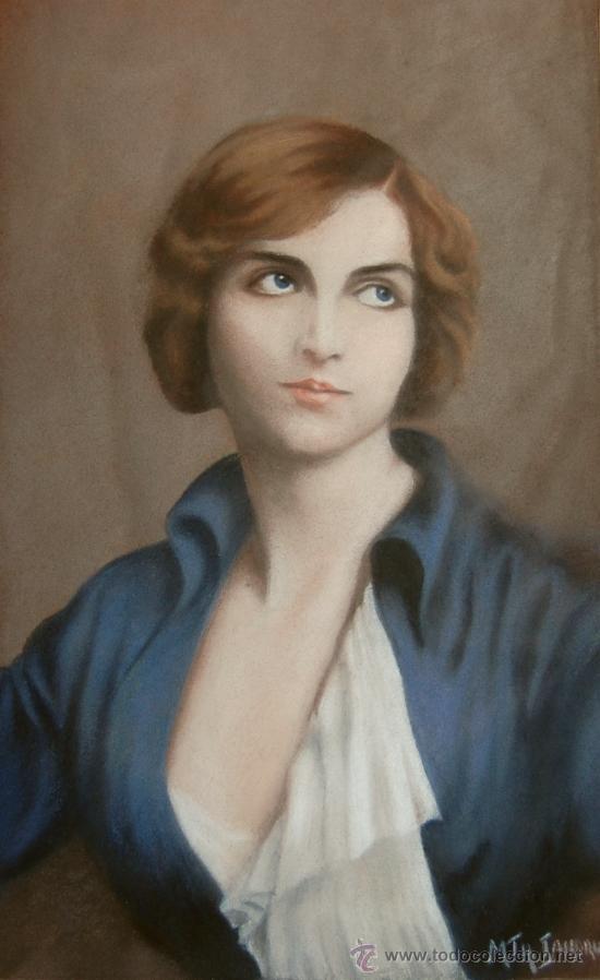 RETRATO FEMENINO DE UNA JOVEN MUJER - ART DECO - MODERNISMO (Arte - Pintura - Pintura al Óleo Moderna siglo XIX)