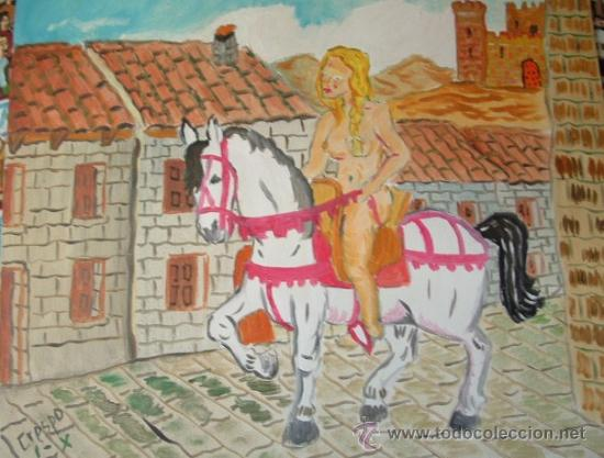 LADY GODIVA 46X33 CM. ÓLEO SOBRE LIENZO. DE CRESPO (Arte - Pintura - Pintura al Óleo Contemporánea )