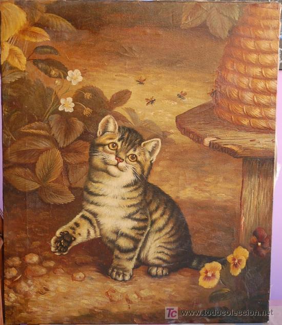 Gato gatito pintura oleo sobre lienzo 5 comprar pintura al leo moderna en todocoleccion - Enmarcar lienzo ...