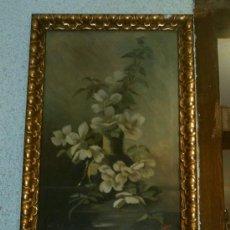 Arte: OLEO SOBRE LIENZO JARRON CON FLORES - ANTIGUO - FIRMADO. Lote 27096405