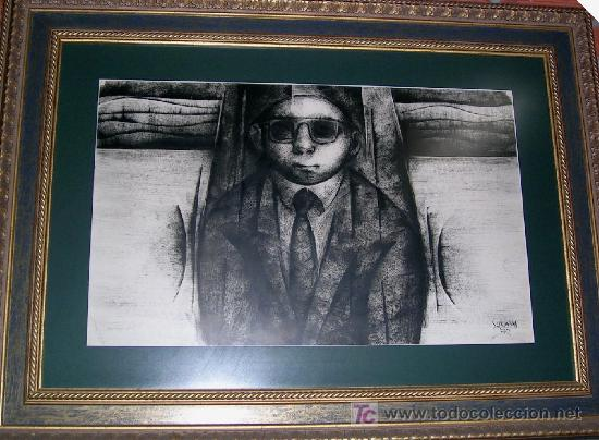 Arte: ALFONSO SUCASAS GUERRA. TECNICA MIXTA:OLEO-TINTAS A PINCEL1972-74.FIRMADO CERTIFICADO Md 46x75Cm - Foto 2 - 27550102