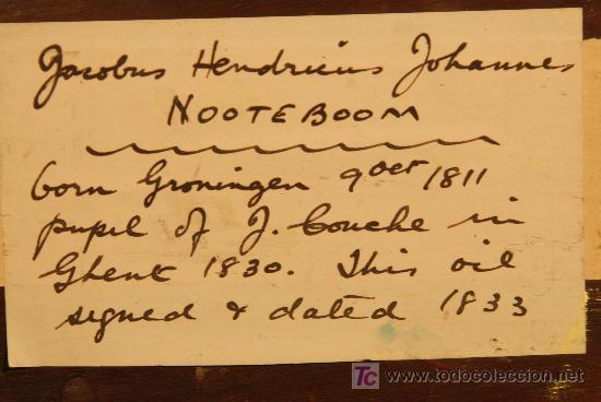 Arte: Oleo sobre tabla firmado Jacobus Hendricus Johannes. Año 1811 - Foto 5 - 25350967