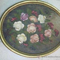 Arte: OLEO SOBRE LIENZO, MARCO DORADO REDONDO.FLORES - FIRMA C. ROBREDO. Lote 26353848