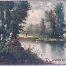 Arte: PAISAJE FIRMADO: J. SERRA, 1890'S APROX. SIN ENMARCAR. TAMAÑO: 70X140 CM.. Lote 22849746