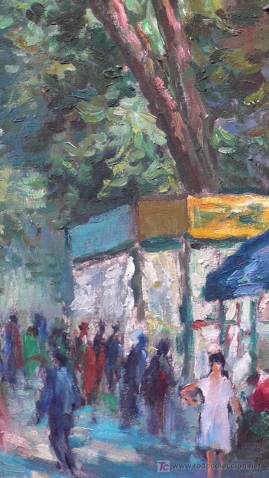 Barcelona la rambla firmado jacinto oliv 1 comprar pintura al leo contempor nea en - Enmarcar lienzo ...