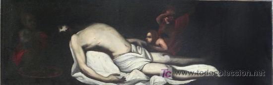 CRISTO YACENTE, ÓLEO SOBRE TELA RESTAURADO Y REENTELADO. 159 X 52 CM. (Arte - Pintura - Pintura al Óleo Antigua sin fecha definida)