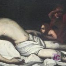 Arte: CRISTO YACENTE, ÓLEO SOBRE TELA RESTAURADO Y REENTELADO. 159 X 52 CM.. Lote 22036998