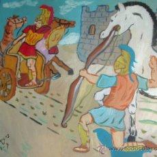 Arte: LA MUERTE DE AQUILES ,ÓLEO SOBRE MADERA 60X60 DE CRESPO. Lote 17456685