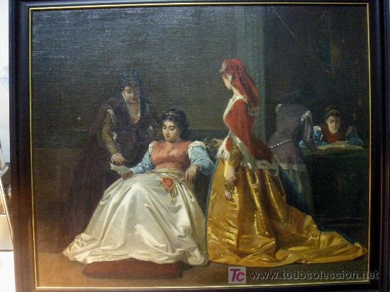 LA CARTA. OLEO SOBRE LIENZO DEL XIX (Arte - Pintura - Pintura al Óleo Moderna siglo XIX)