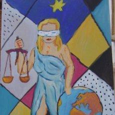 Arte: LA JUSTICIA ÓLEO SOBRE TABLA 30X50 CM. DE CRESPO. Lote 17983353