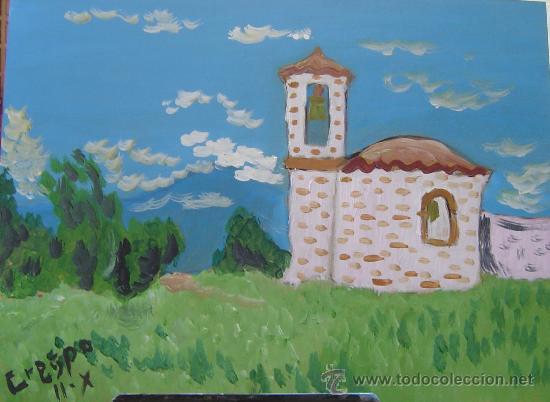 EUSKADI ERMITA VALDEGURIA, ÓLEO SOBRE MADERA DE 40X30 CM. AUTOR CRESPO (Arte - Pintura - Pintura al Óleo Contemporánea )