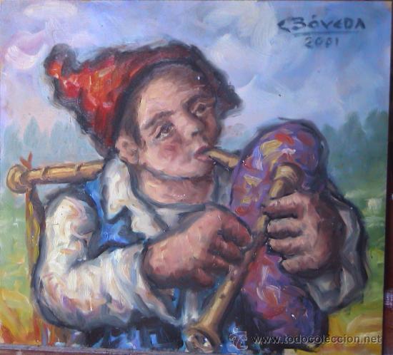 CARLOS BÓVEDA - ÓLEO SOBRE TABLEX - GAITEIRO NAMORADO (Arte - Pintura - Pintura al Óleo Contemporánea )