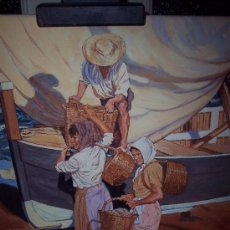 Arte: MAGNIFICO OLEO SOBRE LIENZO DESCARGANDO LA PESCA. FIRMADO Y ENDOSADO.. Lote 18577121