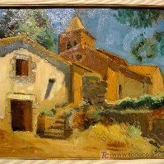 Arte: ROMANYÀ DE LA SELVA. OLEO S. TABLA. OLEGUER JUNYENT SANS. FIRMADO.. Lote 26512845