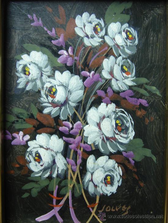 JOLVES. OLEO SOBRE TABLA. ENMARCADO. RAMO ROSAS (Arte - Pintura - Pintura al Óleo Contemporánea )