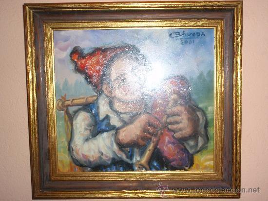 Arte: Carlos Bóveda - Óleo sobre tablex - Gaiteiro Namorado - Foto 2 - 26304914