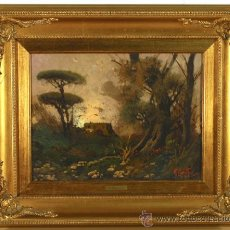 Arte: PINTURA OLEO DE R. MAROTTA CON MARCO MADERA. Lote 18993973