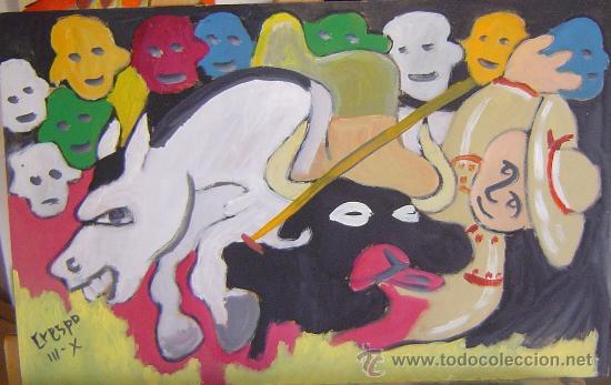 PICAOR ABSTRACTO, ÓLEO SOBRE MADERA DE 30X50 CM. DE CRESPO (Arte - Pintura - Pintura al Óleo Contemporánea )