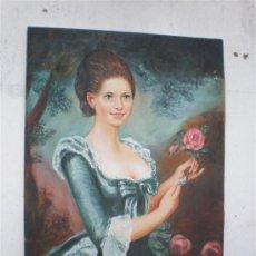 Arte: PINTURA AL OLEO MUJER CON ROSA FIRMA. Lote 19567399