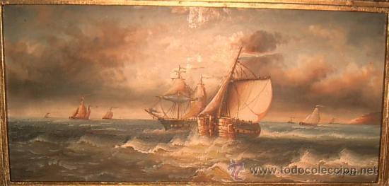 Arte: Cuadro Francés de Marina ~ Pintura al Óleo Firmado ~ Estilo Antiguo~ Gastos de Envío Incluidos - Foto 2 - 23401169