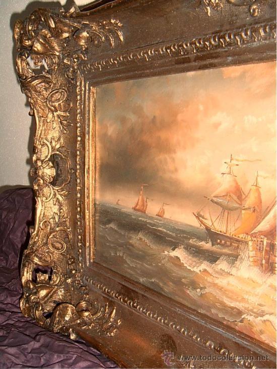 Arte: Cuadro Francés de Marina ~ Pintura al Óleo Firmado ~ Estilo Antiguo~ Gastos de Envío Incluidos - Foto 3 - 23401169