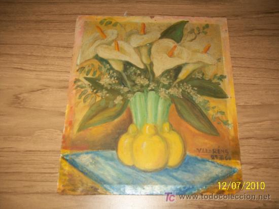 FLORERO, SOBRE TABLEX DE 31.5 X 27.5 CM. - V. LLORÉNS- 29/III/60 (Arte - Pintura - Pintura al Óleo Moderna sin fecha definida)