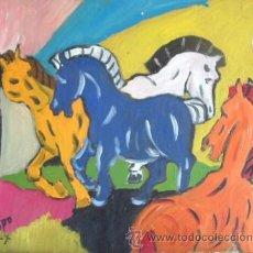 Arte: CABALLOS DE COLORES 40X50 CM. ÓLEO SOBRE MADERA DE CRESPO. Lote 20486356