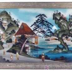 Arte: CRISTAL PINTADO JAPONÉS CON RETRATOS FOTOGRAFICOS INTEGRADOS. 48X68 CM.. Lote 20535378