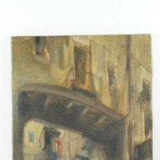 Arte: CALLE POR IDENTIFICAR, ÓLEO SOBRE LIENZO 26X47 CM. FIRMADO MORALES, 1941.. Lote 22339528