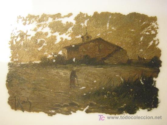 PLACA DE OPALINA LECHOSA PINTADA AL OLEO Y FIRMADA (Arte - Pintura - Pintura al Óleo Antigua sin fecha definida)