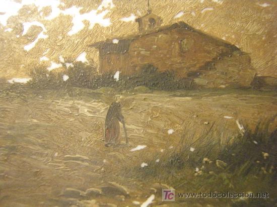 Arte: PLACA DE OPALINA LECHOSA PINTADA AL OLEO Y FIRMADA - Foto 2 - 26337335