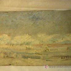 Arte: PEQUEÑA TABLA PINTADA AL OLEO Y FIRMADA A. GALINDO EN 1958. Lote 26930611