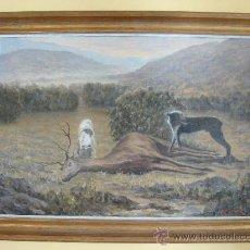 Arte: OLEO SOBRE LIENZO. PAISAJE DE CACERIA. FIRMADO ERNESTO GUTIERREZ ( 1873-1934 ). Lote 27361701