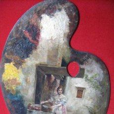 Arte: JOVEN AGUADORA JUNTO A LA FUENTE, PALETA PINTADA DE CECILIO PLA (1860-1934). Lote 26840187