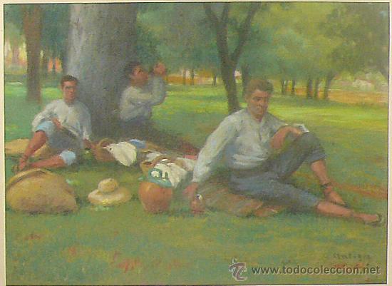 Arte: Merienda campestre,Firmado: ANTIGA. Pastel enmarcado. 31x42 cm. Marco: 49 x 62 cm. - Foto 2 - 21548238