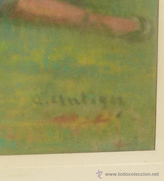 Arte: Merienda campestre,Firmado: ANTIGA. Pastel enmarcado. 31x42 cm. Marco: 49 x 62 cm. - Foto 3 - 21548238