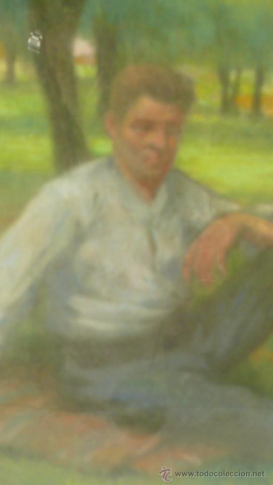 Arte: Merienda campestre,Firmado: ANTIGA. Pastel enmarcado. 31x42 cm. Marco: 49 x 62 cm. - Foto 4 - 21548238