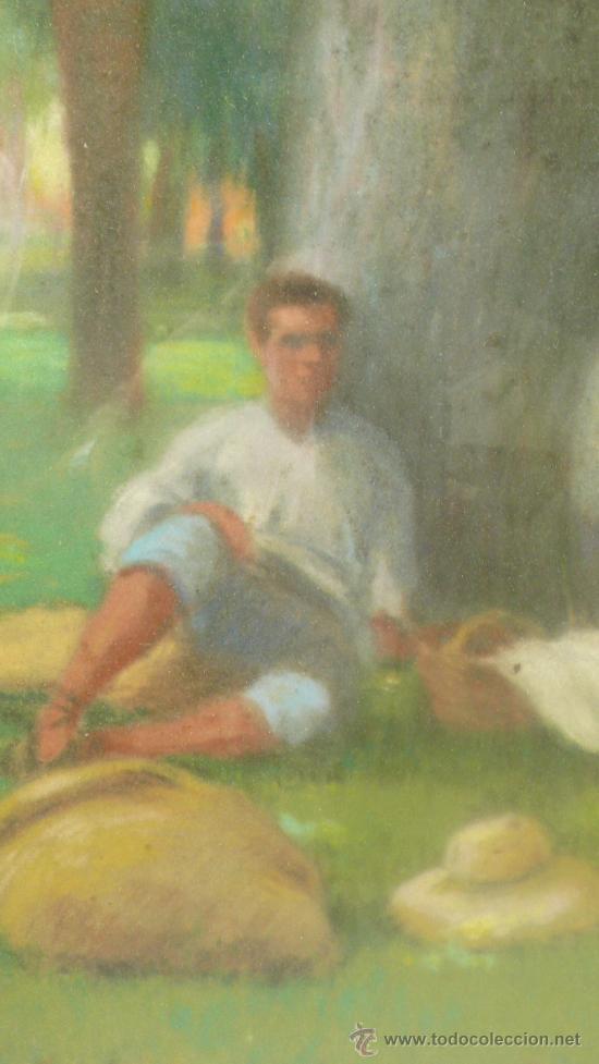 Arte: Merienda campestre,Firmado: ANTIGA. Pastel enmarcado. 31x42 cm. Marco: 49 x 62 cm. - Foto 5 - 21548238