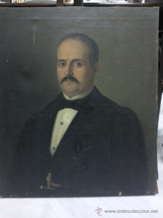 CUADRO OLEO LIENZO DEL SIGLO XIX, RETRATO. (Arte - Pintura - Pintura al Óleo Moderna siglo XIX)