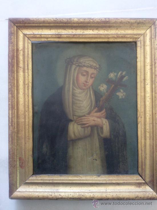 ANTIGUO ÓLEO SOBRE COBRE IMAGEN DE SANTA CATALINA DE SIENA (Arte - Pintura - Pintura al Óleo Antigua sin fecha definida)