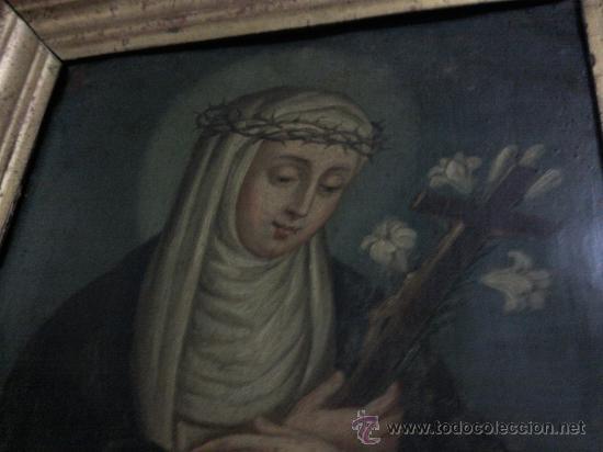 Arte: Antiguo óleo sobre cobre imagen de Santa Catalina de Siena - Foto 3 - 27394754