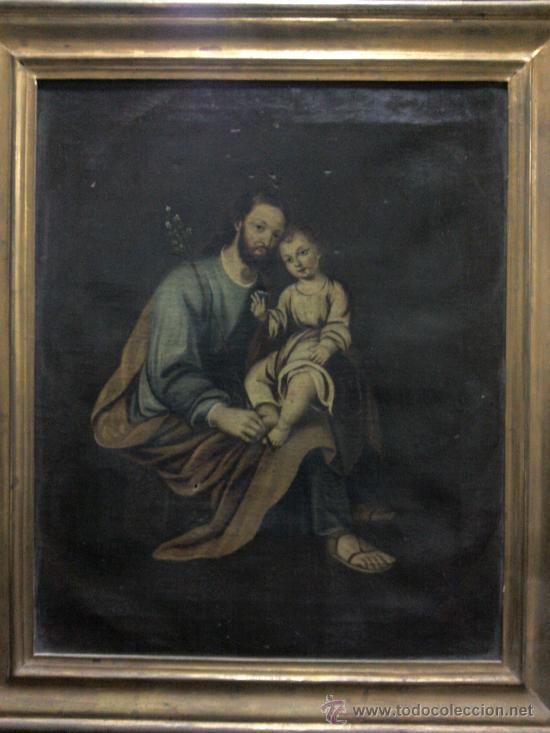 CUADRO OLEO LIENZO SIGLO XVIII (SAN JOSE CON NIÑO). (Arte - Pintura - Pintura al Óleo Antigua siglo XVIII)